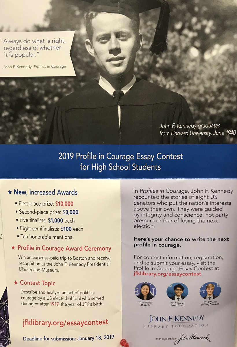 Cbest Essay Prompts The John F Kennedy Profile In Courage Essay Contest Is Open Due   Its A National Contest With Some Major Rewards Order Essays also Texting While Driving Essay Lrhs Studentservices On Twitter Attention Seniors The John F  Jane Austen Essay