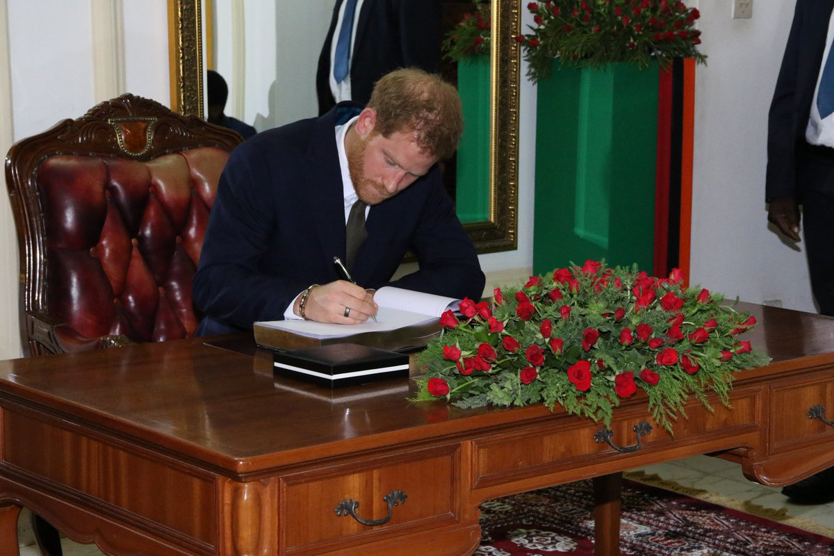 HRH The Duke of Sussex signing the visitors book at State House #RoyalvistZambia