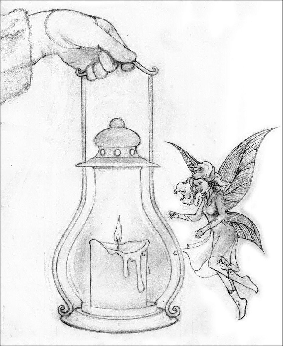 #mashupmondays has arrived! Here's my sketch and some #workinprogress pictures for #Candles and #MagicalCreatures - I'm going to be finishing this one up for my #winterwonderland art display at the @nflibrary that will be up all through December!  #fairy #winter #snow #night