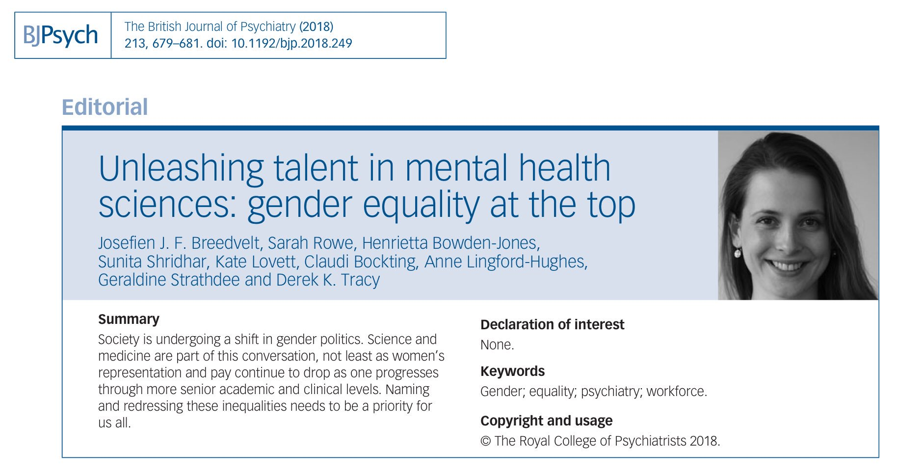Bjpsych On Twitter Unleashing Talent Gender Equality In Mental