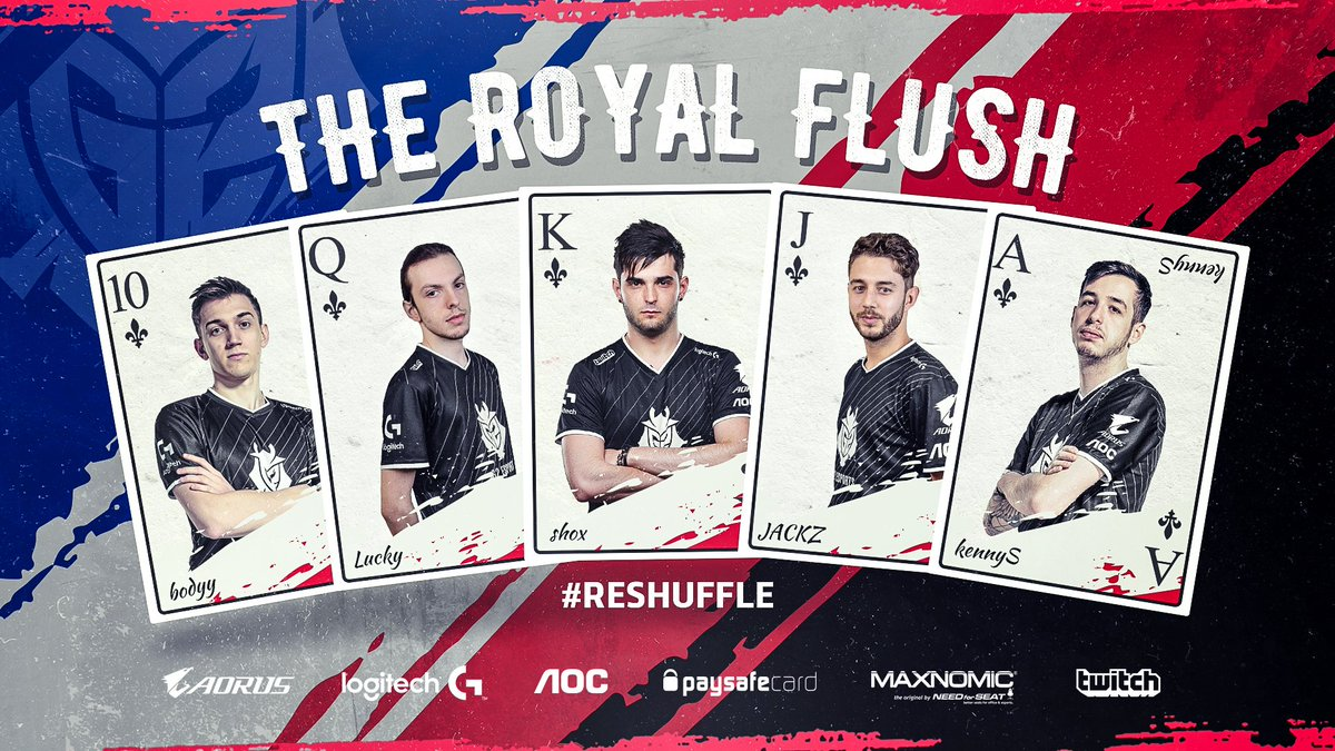 Lead by our King @G2shox, our Ace @G2kennyS & the veteran number @G2bodyy, we will fight for the CS:GO throne!  Today, the #Reshuffle begins.   Welcome to the #G2ARMY @LuckyCSGO_ & @JACKZ_CSGO!