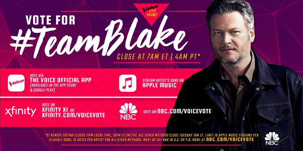 Vote #TeamBlake on @NBCTheVoice ! There is no other option! – Team BS https://t.co/Rc43adu9f0