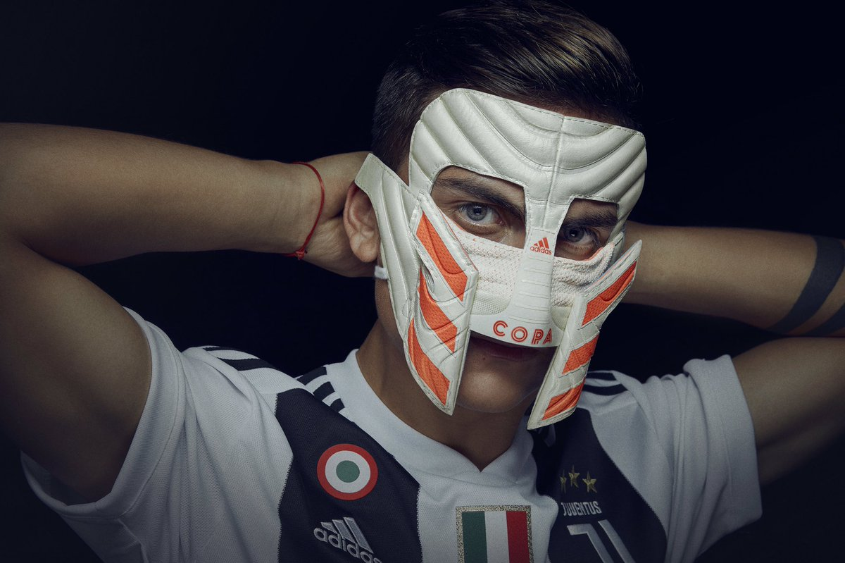 The Gladiator.  In December 2016, @PauDybala_JR missed a penalty that led to defeat. A moment that required strength through adversity. The mask celebration was born.  Fearless. Ferocious. Faceless.   Head to our Instagram Story, wear the #COPA19 mask.