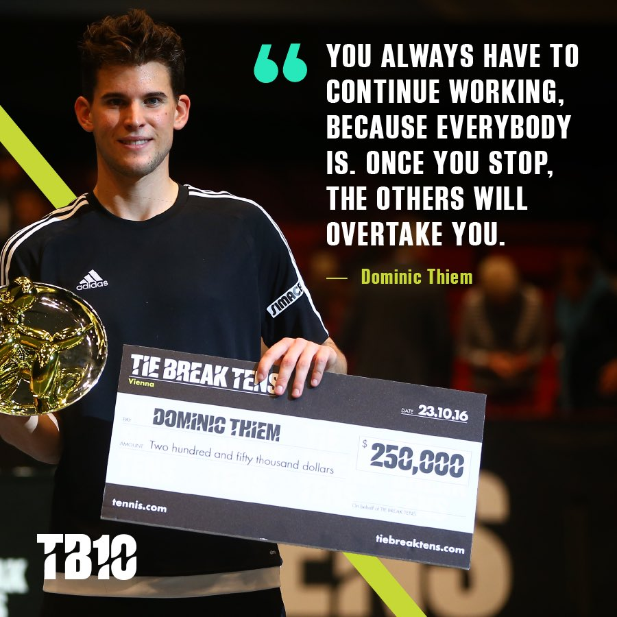 Tonight's Monday Motivation coming at you from our 2016 champ @domithiem 💪🏻🏆 #tiebreaktens #tb10