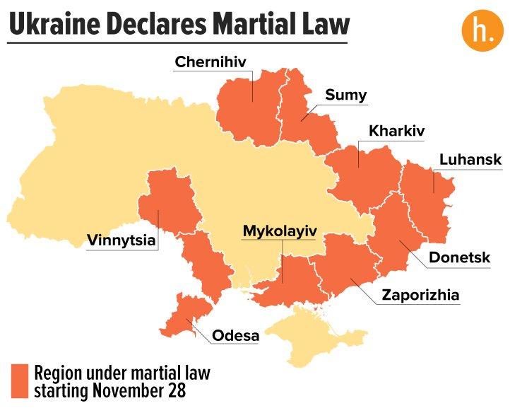 Военное положение по регионам Украины