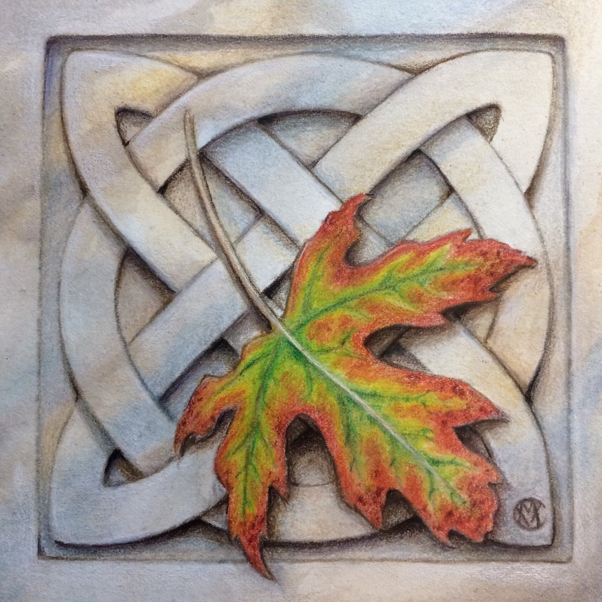Finishing up this lovely little #CelticKnot to bring into @FaeNature later this week. I'm so excited to say that some of my art, prints, and cards will soon be available there! #art #leaf #maple #autumn #nature #celtic #ink #coloredpencil #watercolor #artist #stone #marble #carve