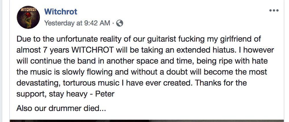 This is my favorite band break-up notice ever.