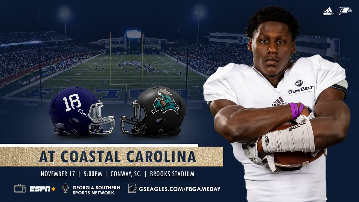 "Georgia Southern Football en Twitter: ""🏈 - at Coastal Carolina ⏰ - Nov. 17, 5:00 p.m.  📍 - Conway, S.C. | Brooks Stadium 📺 - ESPN+ ($) https://t.co/qSQwNhPsUP 📻 - https://t.co/Q3LtCOfxS5 📊 - https://t.co/3sDxb8CCyk 📰 - https://t.co/ebHGzYDVZP  #TimeToGATA… https://t.co/xVPbKNpYjU"""