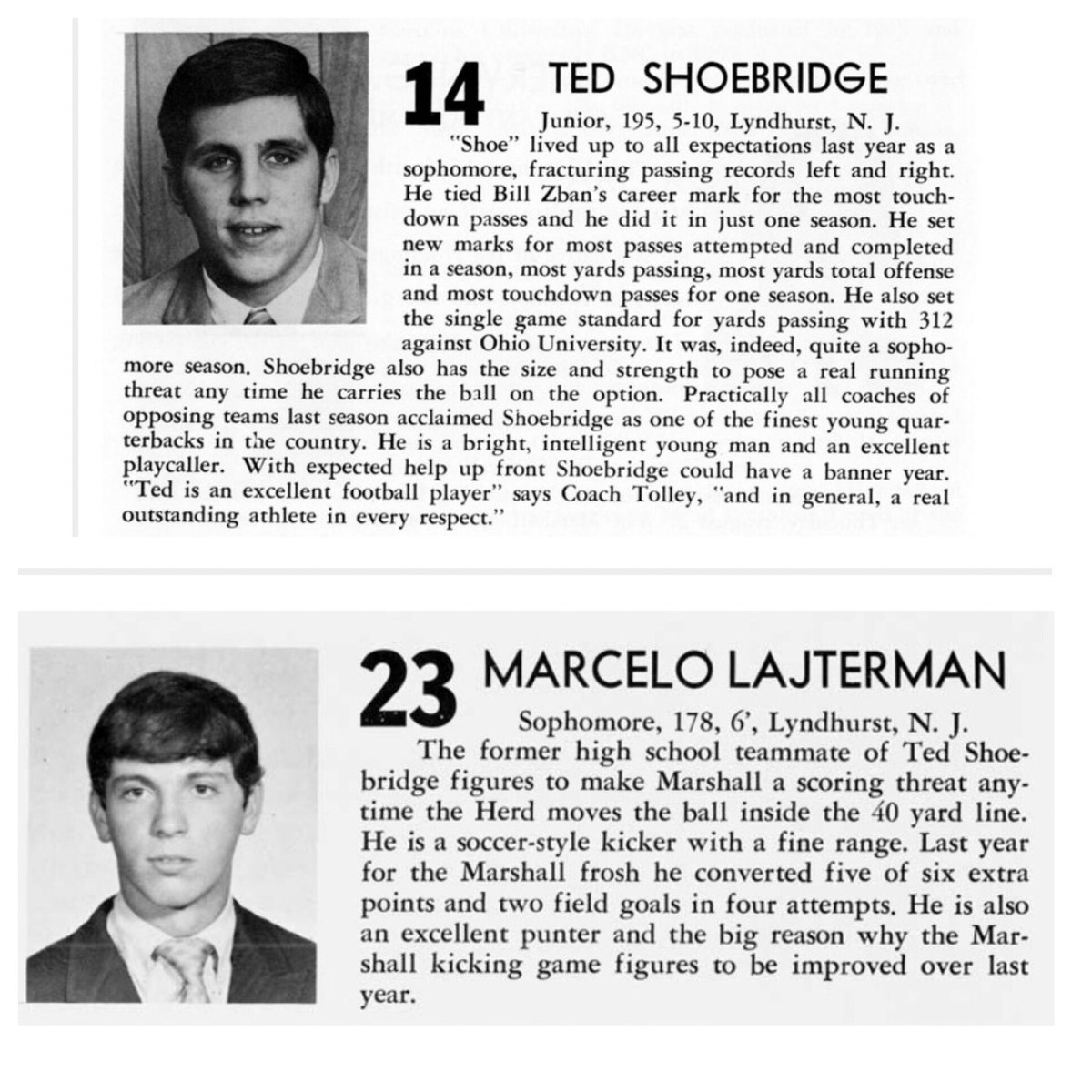 Today, on the anniversary of the Marshall University Plane Crash, we remember these two gentlemen who, I believe, will be watching down on our boys Friday night. @HerdFB #WeAreLyndhurst #WeAreMarshall<br>http://pic.twitter.com/Mcf5kuuReg