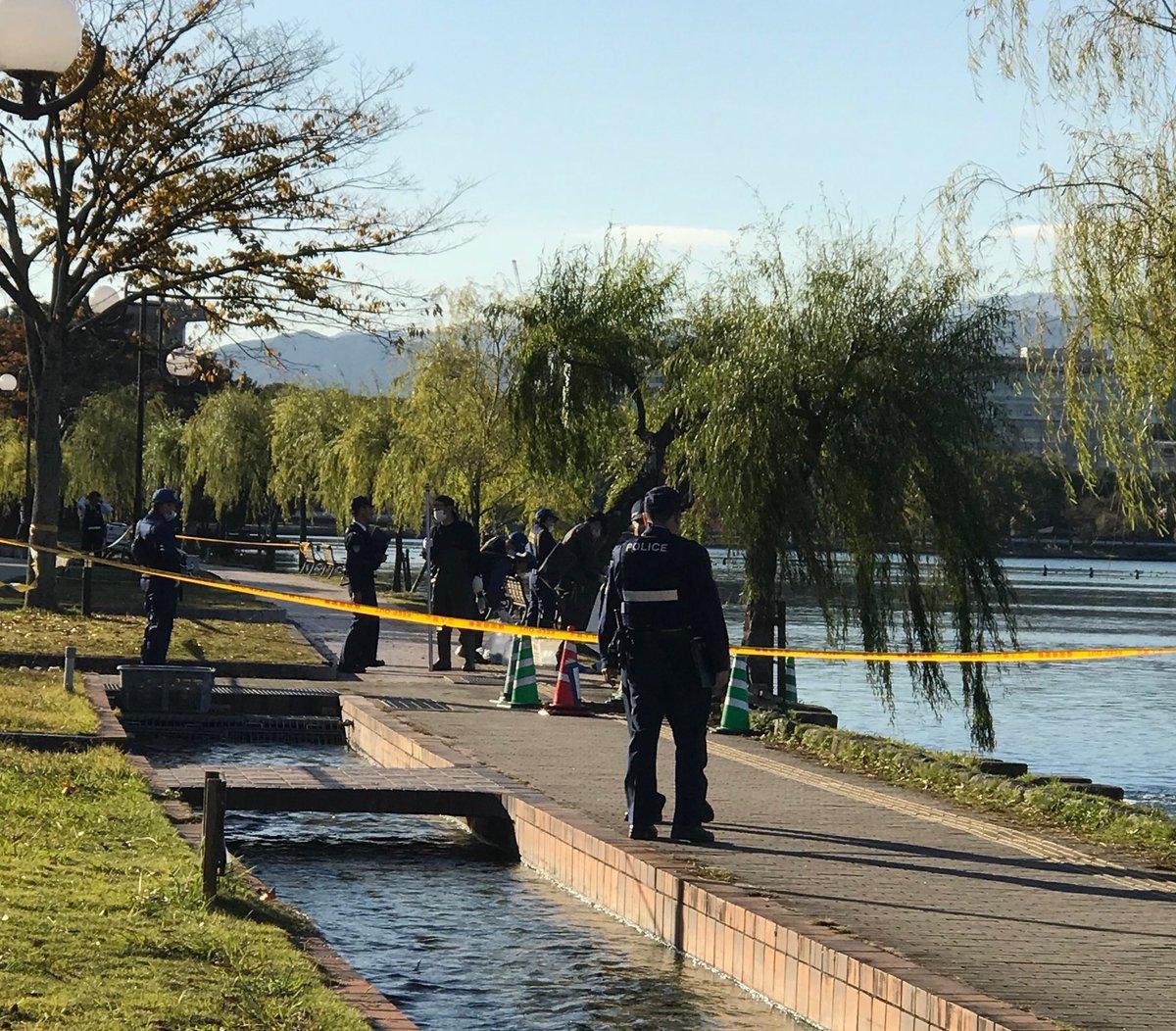 大濠公園で男性の遺体が見つかった現場の画像
