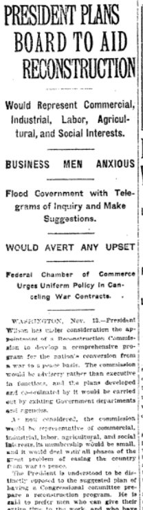 Nov 14, 1918 - New York Times: US looks to challenge of transitioning from wartime to peacetime economy #100yearsago