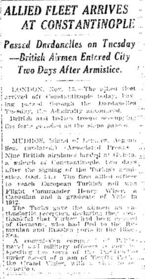 Nov 14, 1918 - New York Times: Allied fleet arrives at Turkish capital of Constantinople #100yearsago