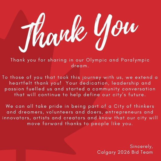 Thank you for sharing in our Olympic and Paralympic dream. #Calgary2026 #yyc<br>http://pic.twitter.com/1G9wE0FZkT