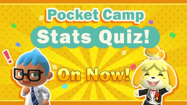 The Pocket Camp Stats Quiz starts today! I&#39;ll be tweeting questions about Pocket Camp that you can answer through a Twitter poll! There will be 5 questions (and a gift related to each question). Don&#39;t worry about wrong answers! Everyone will receive these gifts no matter what!<br>http://pic.twitter.com/uE647phRy1