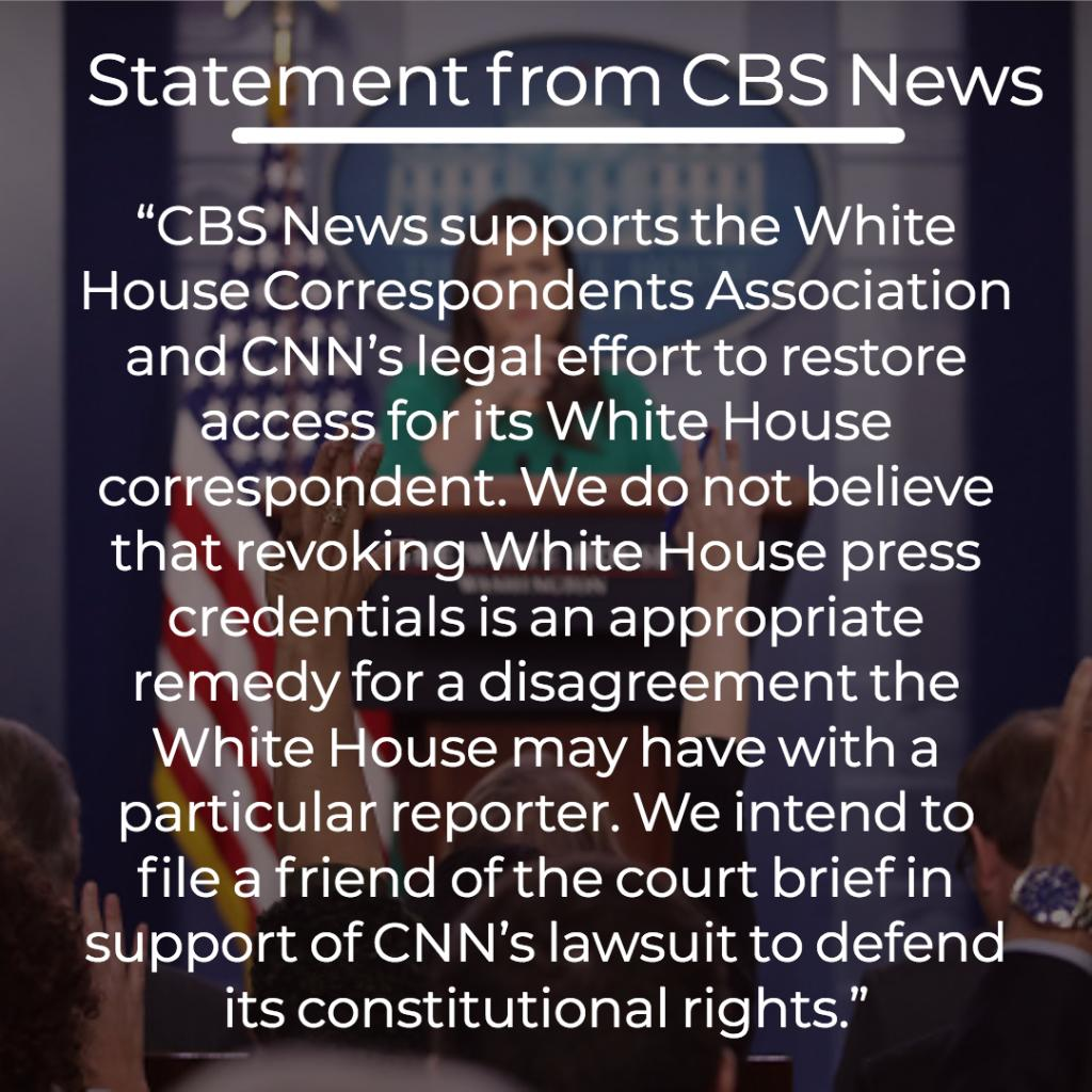 CBS News is one of several news outlets supporting CNN in its lawsuit against the Trump administration for revoking White House  correspondent Jim Acosta's credentials. https://t.co/sc48dxH9Uh