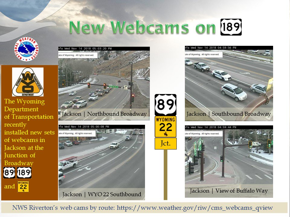The  Wyoming Dept of Transportation @WYDOT_Northwest recently installed new webcams in Jackson at the Intersection of U.S. 89/189 (Broadway) and Wyoming State Highway 22.  These new views are now available on our webcam-by-route  site:  https://t.co/KZTU5xpZkO  #wywx  #wyoroad