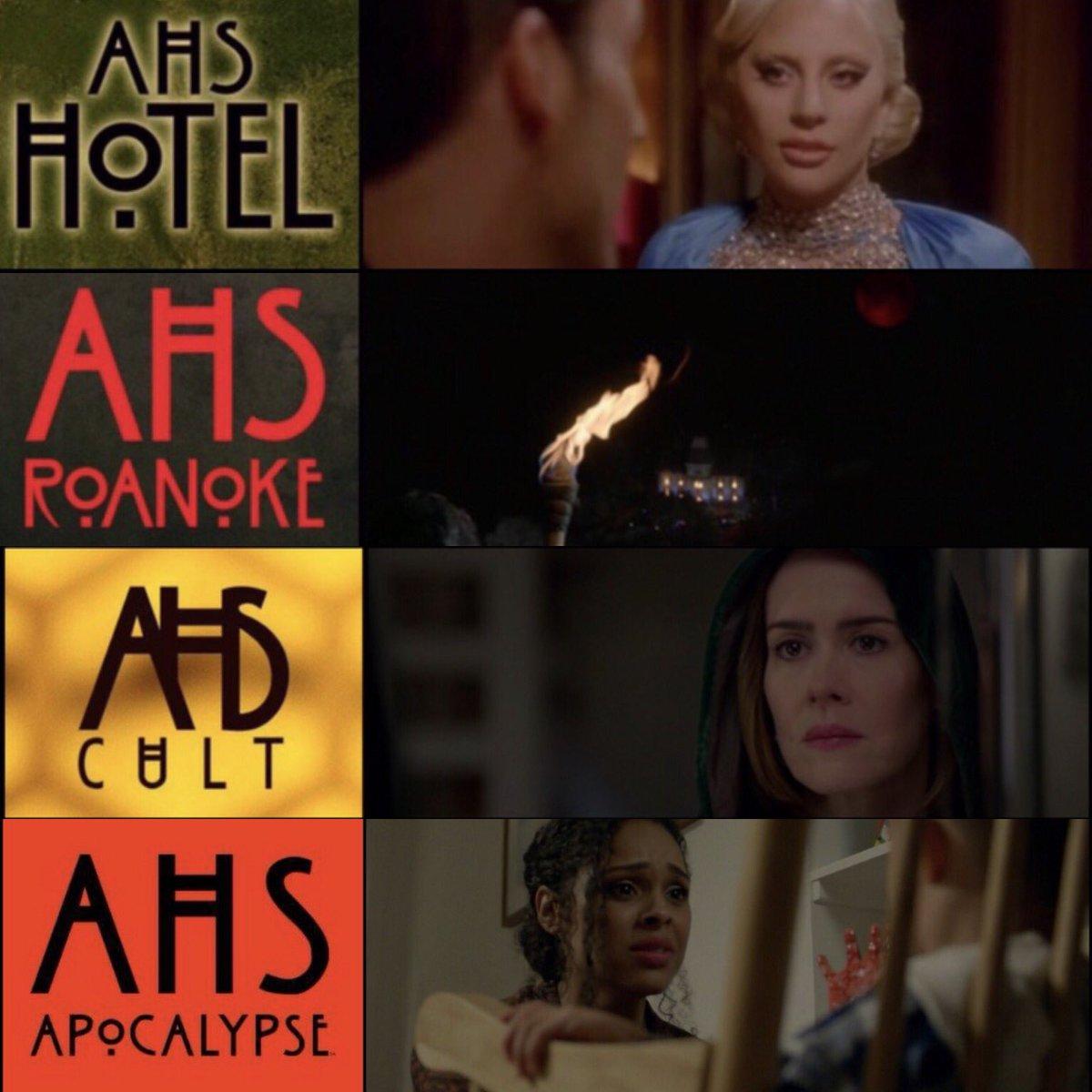 RT @_AHSCentral: The final scene of each season of 'American Horror Story'. (2011-2018) #AHSApocalypse https://t.co/Jhig3SbJV2