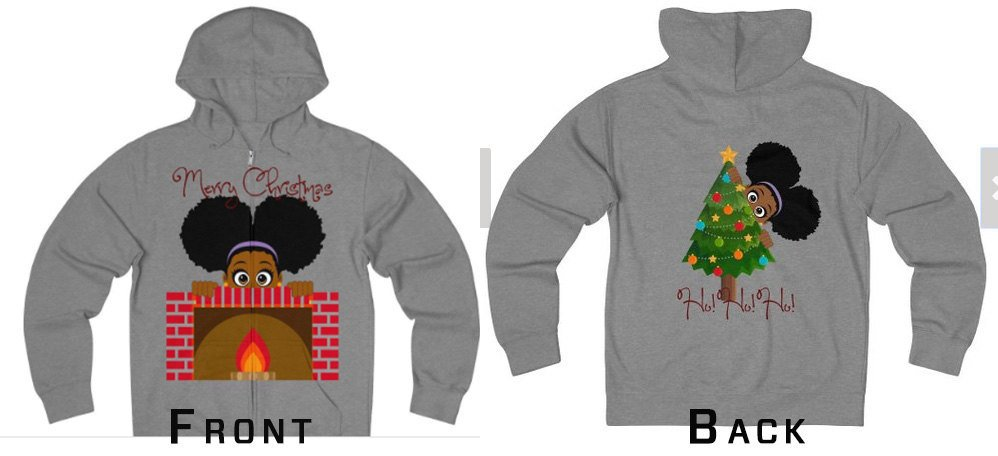 Black Girl Christmas Unisex Zipper Hoodie