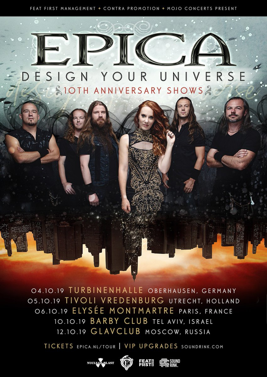 Legion! Next year we will be celebrating Design Your Universe with a number of exclusive DYU shows. Tickets and VIP upgrades go on sale this Saturday at 10 am local time from epica.nl/tour