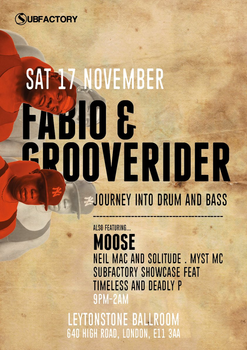 This Saturday 17th November @fabioandgroove @fabiodnb @GROOVERIDERDJ @mcmoose600 @nicksolitude @RedLionE11 Leytonstone ballroom e11 Come join us