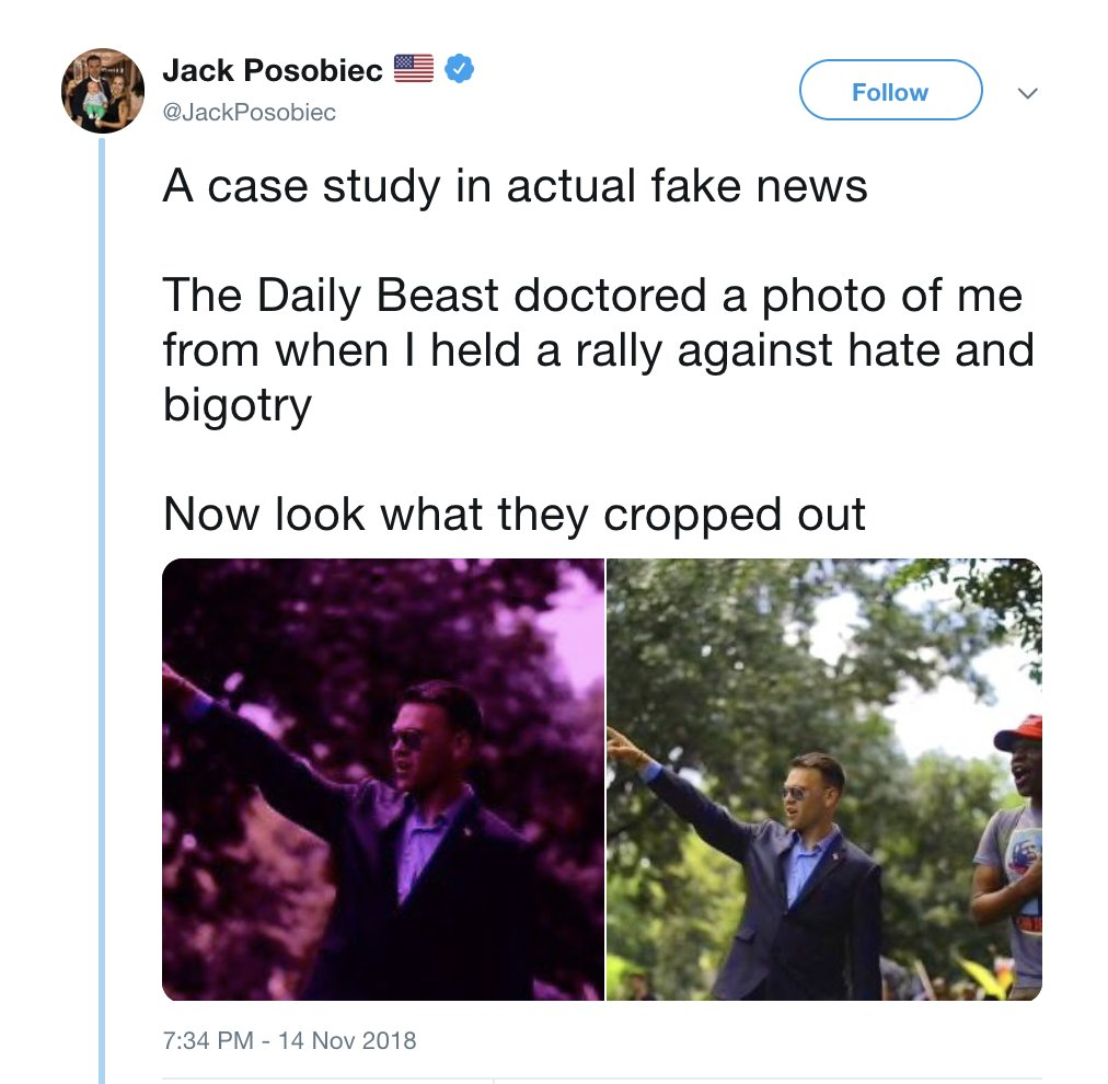 """I was at this rally. The cropped out black dude Posobiec is tokenizing kicked things off by yelling, """"It's time to put George Soros in the gas chamber!"""" 211 Bootboys, a violent neo-Nazi crew, were helping with security. Proud Boys were there, too. And Will Chamberlain. <br>http://pic.twitter.com/6eoWedyjrO"""