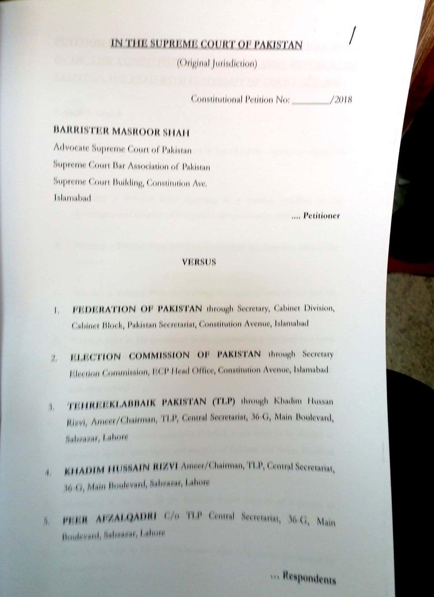 An application filled in SC about ban on Tahreek labaik Pakistan. Applicant rquested SC to start contempt proceedings againsg Molvi khadim hussain and Peer afzal qadri....@SdqJaan<br>http://pic.twitter.com/xWBibZS0Ib
