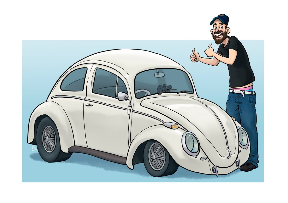 #illustration #volkswagen #vw #type1 #callook #westfalia #camper #aircooled #67 #dragrace #quartermile #caricature #artist #illustrator #vanlife #vanlifediaries #homeiswhereyouparkit