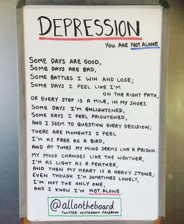 DEPRESSION by @allontheboard Please know there are people you can talk to. #depression #DepressionIsReal #Stress #stressed #anxiety #MentalHealth #MentalHealthMatters #MentalHealthAwareness #Health #ItsOkNotToBeOk @samaritans @MindCharity #SmallTalkSavesLives #ThursdayThoughts