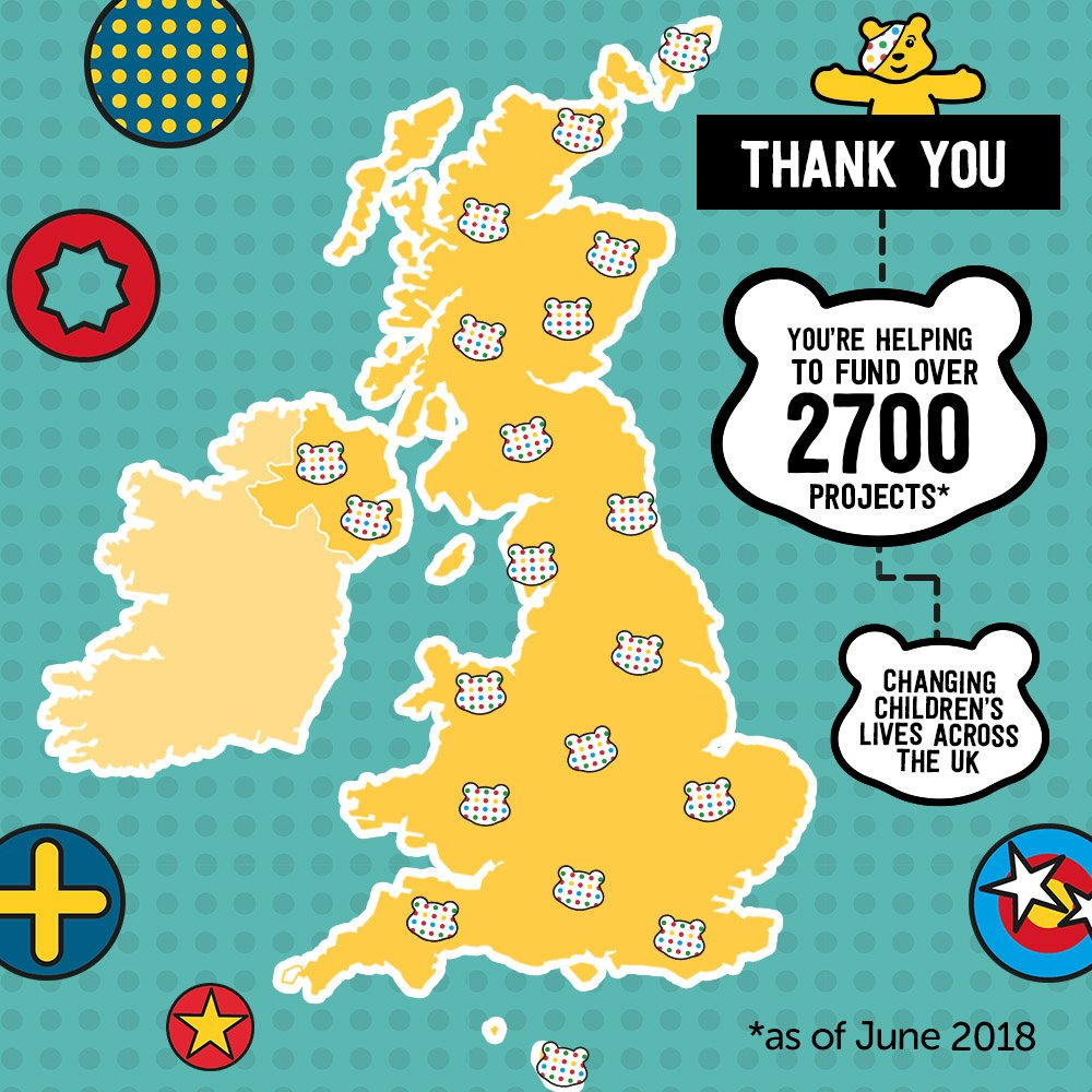 To every one of you out there doing your thing for Pudsey, thank you.  Your kindness, generosity and hard work means we can keep changing children's lives across the UK, and that is nothing short of amazing 👏  Let's do this! #CiN