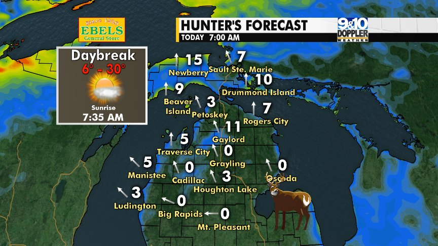 9 10 News On Twitter Check Out Your Weather For Thursday Morning And Opening Day Of Firearm Season Join Us Michigan This Full