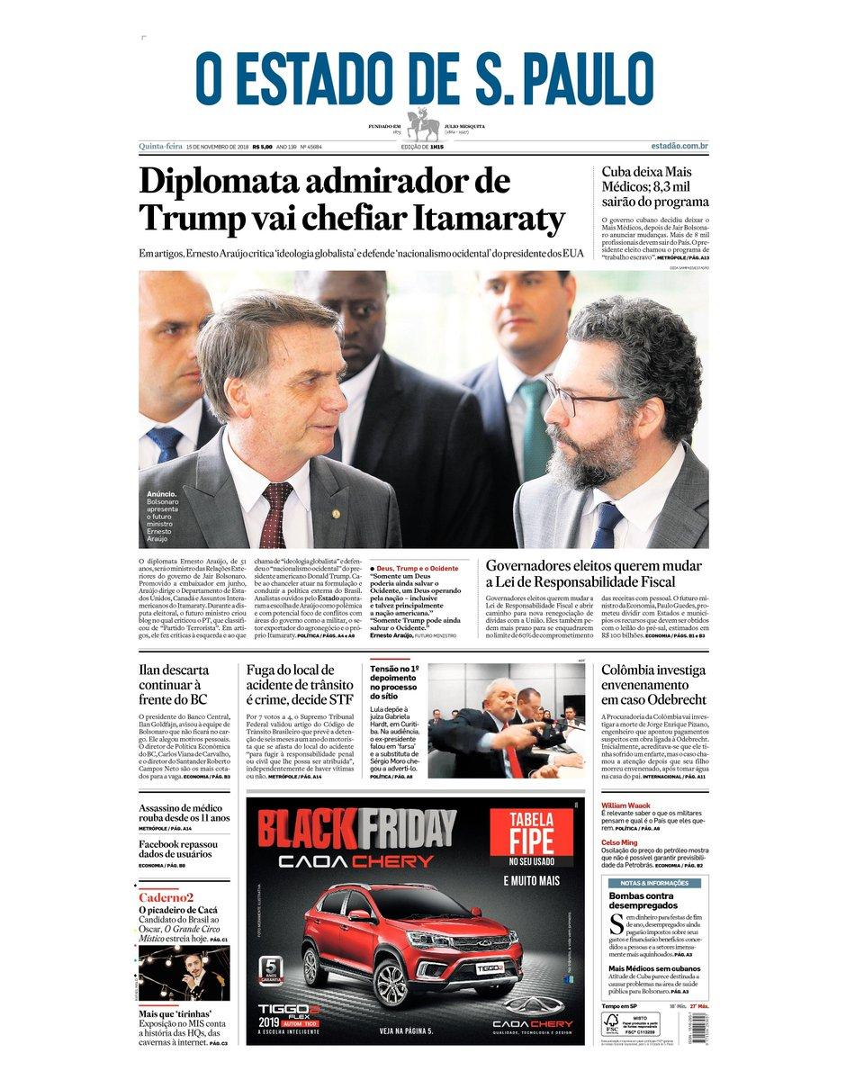 CAPA: Diplomata admirador de Trump vai chefiar Itamaraty https://t.co/b4byNGv37S