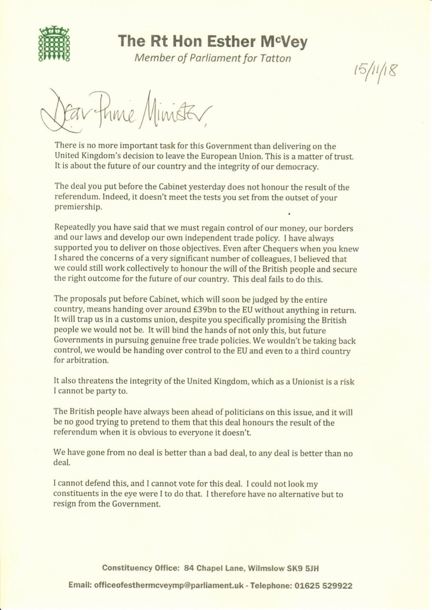 'The deal you put before the Cabinet yesterday does not honour the result of the referendum '  UK Work and Pensions Secretary Esther McVey's resignation letter to PM  Lates #Brexitt  updatehttps://t.co/SxDxzUheMms:
