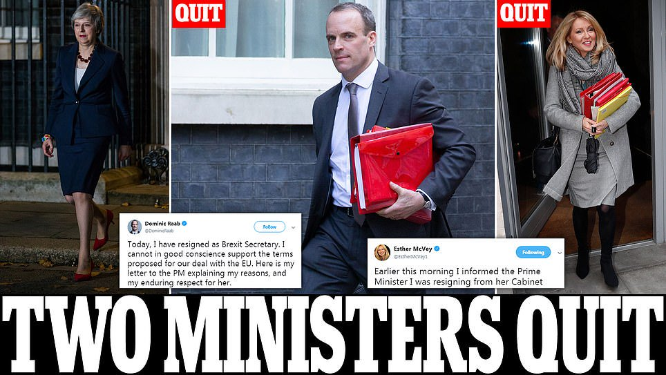 Theresa May is hit by double bombshell as Esther McVey AND Dominic Raab dramatically resign https://t.co/ciE6inNBM3