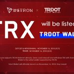 Image for the Tweet beginning: #TRON will be listed on
