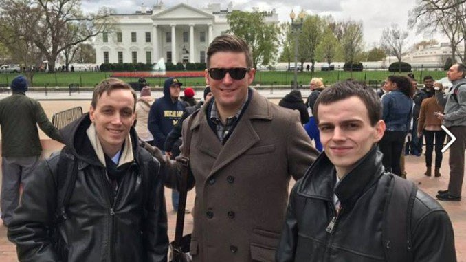 Neo-Nazi Trump supporters Jeffrey &amp; Ted Clark w/ white supremacist Richard Spencer posing in front of the White House.   Jeffrey &amp; Ted were friends with the Pittsburgh shooter, knew of the plans, planned more.   Ted killed himself after the shooting. Jeffrey just arrested. <br>http://pic.twitter.com/Hh7MibF76A