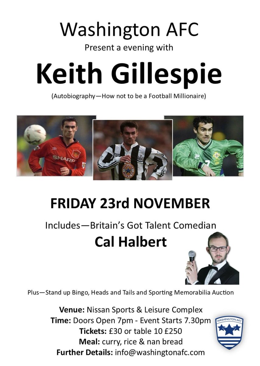 We are hosting an Evening with Keith Gillespie on Friday 23rd November at Nissan. Anyone wanting to attend contact @info@washingtonafc.com @theofficialnl @MarkCarruthers_ Please RT