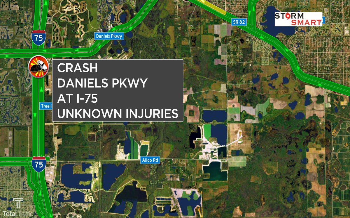 #FHP reporting a crash w/unknown injuries on Daniels Pkwy at #I75 #SWFL #LeeCounty #TrafficAlert @NBC2<br>http://pic.twitter.com/eqt09Iql1t