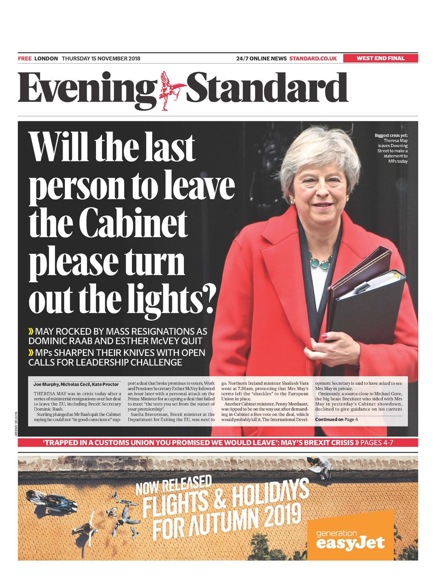 Today's @EveningStandard: mass resignations from the government