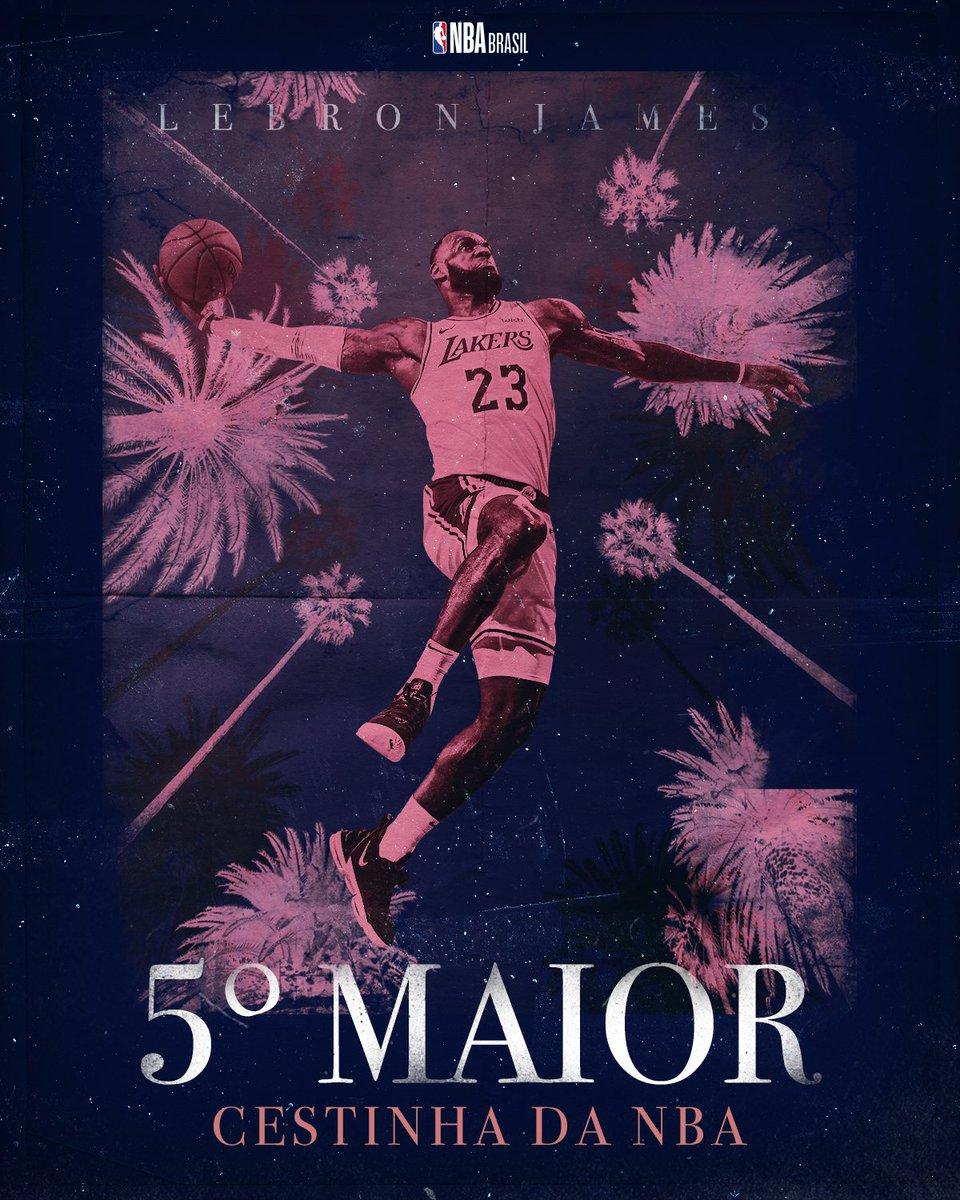 👑 @KingJames se tornou o 5º MAIOR PONTUADOR da história da NBA! O Papai ultrapassou ninguém menos que Wilt Chamberlain (31.419 PTS), um dos grandes ícones da liga! Parabéns! #LakeShow