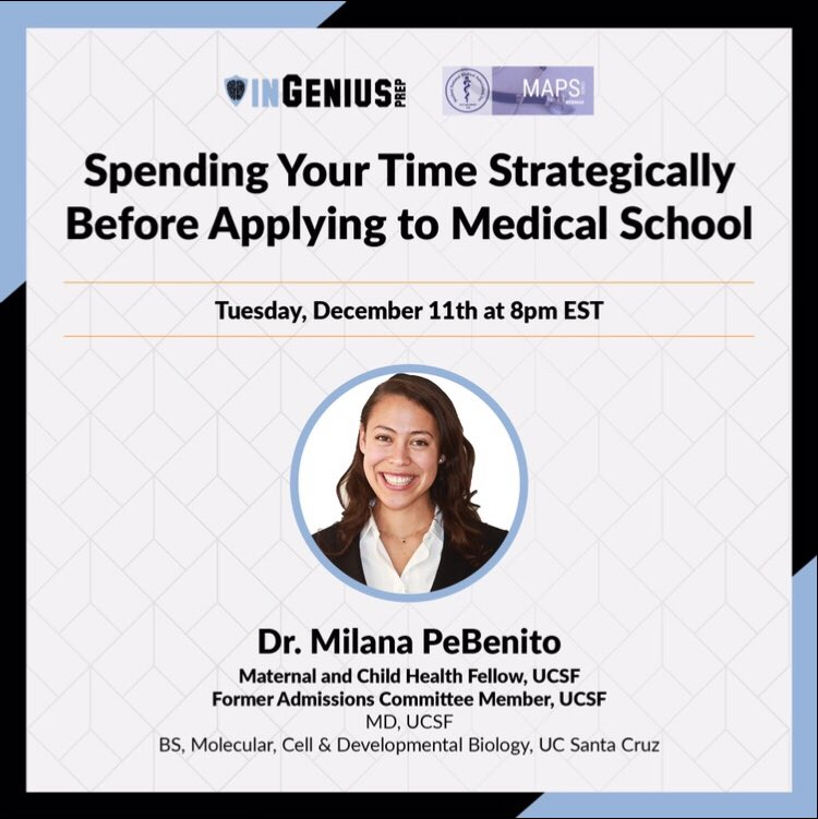 "Join us on Tuesday, Dec 11th for our webinar in partnership with InGenius Prep entitled ""Spending Your Time Strategically Before Applying to Medical School""! You don't want to miss out on this valuable info! @SNMA @PreMed_StAR Register here: https://zoom.us/webinar/register/4215415275682/WN_VjDDnoCaR6iab_mIptPaAg …"
