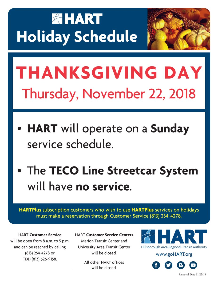 "hart on twitter: ""service alert: hart will operate on a sunday"