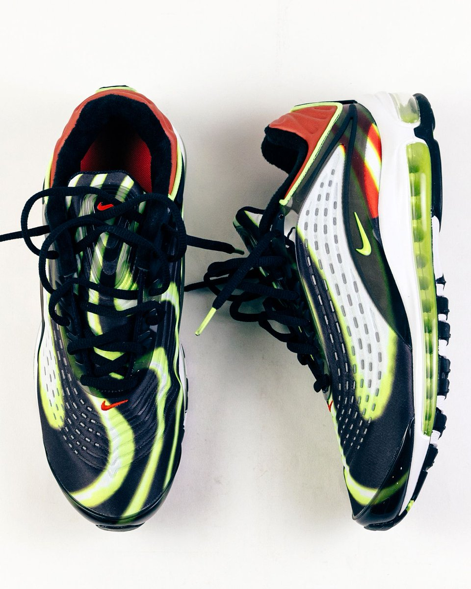 1716b98b4e The Nike Air Max Deluxe (Black/Volt-Habanero Red) is available now ...