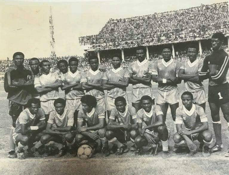 """OLY DADE on Twitter: """"THROWBACK THURSDAY Agosu in the 80s. Back row from  left. Dzakpasu, Tetteh,Ksyode,Nortey,Wilson,Alhassan,Kaakoye,Nyarnu,Aziz,  Quansah Front row left to right: X Onasis,Forster, X,Ardayfio, Maclean..  #OlyHistory #OlyGbogbo… https ..."""