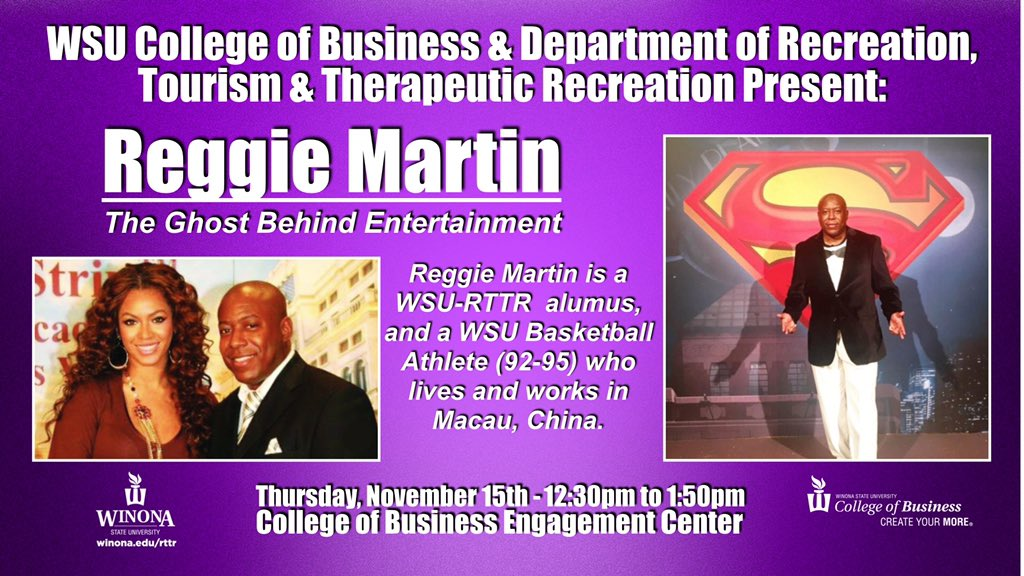 Today is the day, hear Reggie Martin speak about his experience working in celebrity relations and living abroad! 12:30pm in the Engagement Center.