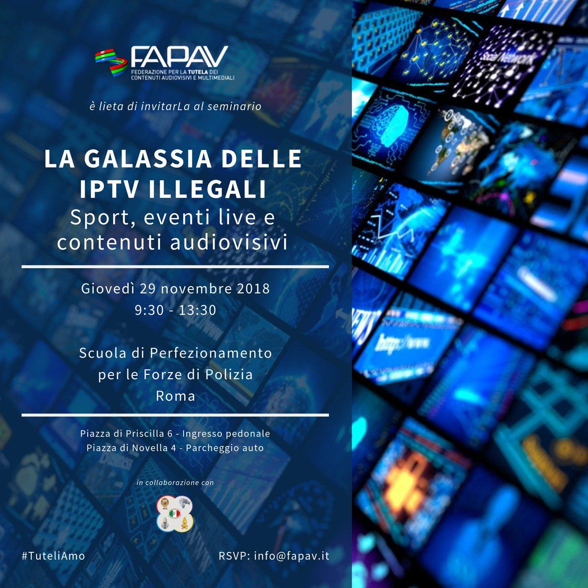 #SaveTheDate! Per la prima volta in Italia un evento dedicato interamente al fenomeno delle #IPTV illegali. Organizzato da #FAPAV in collaborazione con la Scuola di Perfezionamento per le Forze di Polizia. Vi aspettiamo il 29 novembre a partire dalle ore 9:30. #ToBeContinued