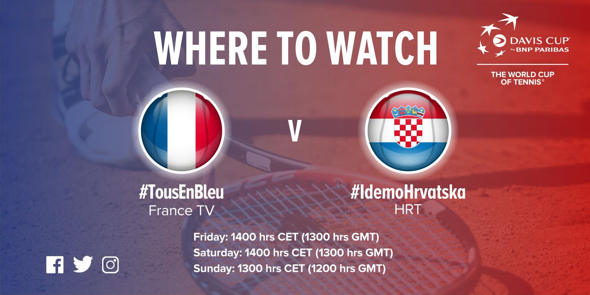 Happy #DavisCupFinal week! Make sure you don't miss a minute of the action...  🇫🇷🆚🇭🇷