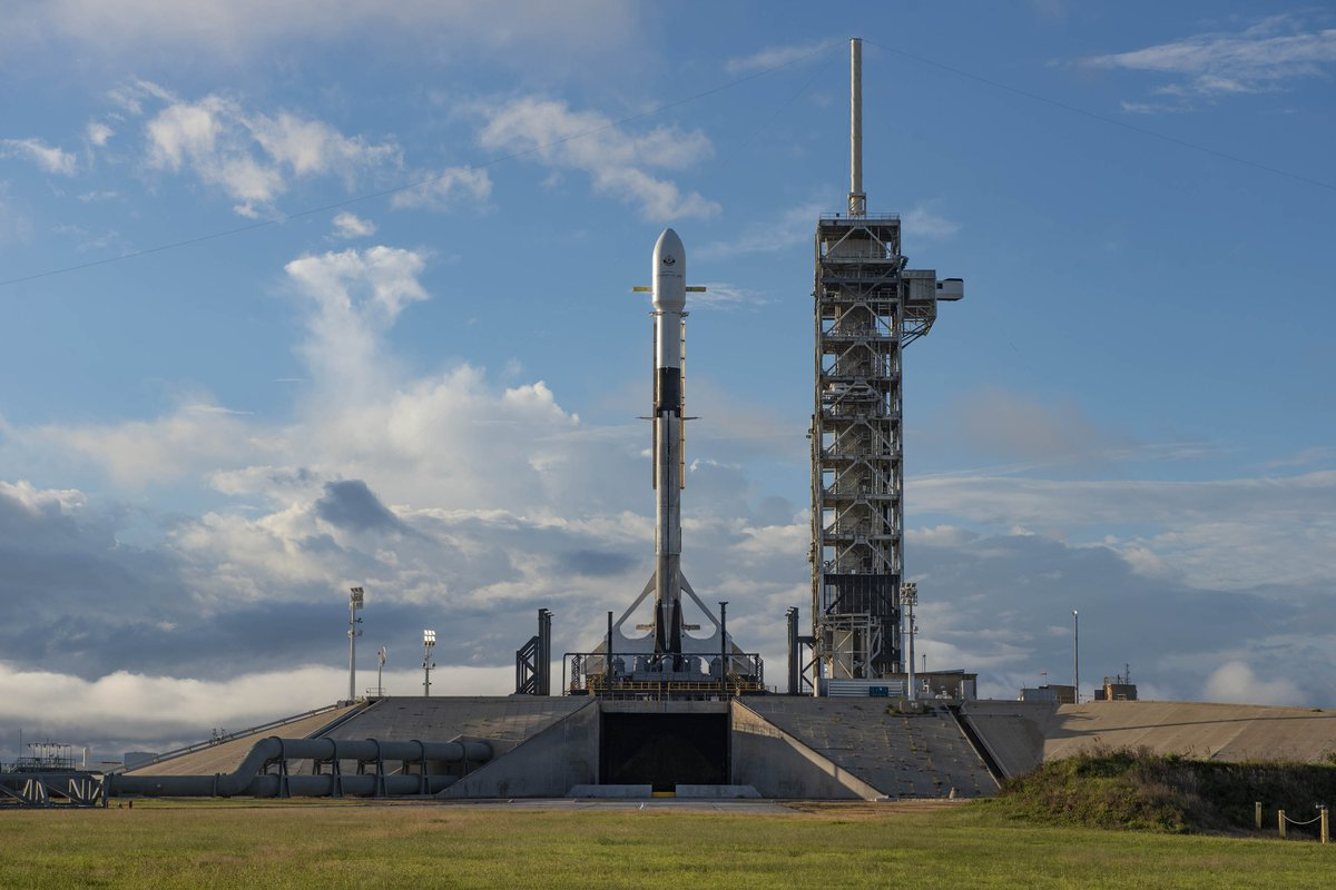 Falcon 9 and Es'hail-2 are vertical on Pad 39A in Florida. Today's launch window opens at 3:46 p.m. EST, 20:46 UTC. Falcon 9's first stage for this mission previously supported the Telstar 19 VANTAGE launch in July 2018. spacex.com/webcast