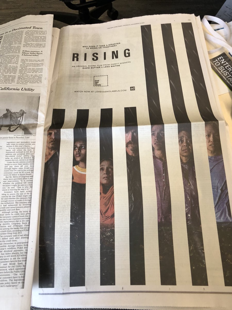 Thank you @nytimes for your generous support! #LoveHasNoLabels #rising #watchit