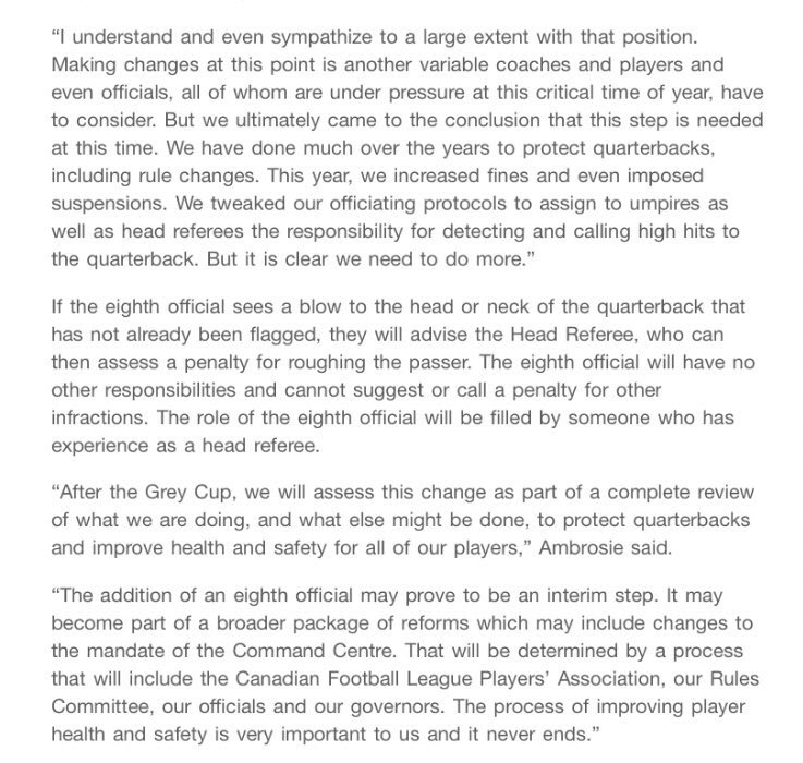 Here is the full CFL statement regarding adding an 8th ref for playoff games this weekend and Grey Cup to watch for hits to the head on QBs. This comes days after missed head shot on Brandon Bridge.  @cbcsports