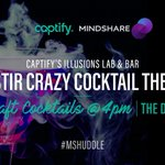 The Stir Crazy Cocktail Theatre opens at 4:00pm at @Captify's Illusions Lab & Bar. Taste a deliciously crafted cocktail shaken up by our mad scientist. #MSHuddle @mindshare_uk